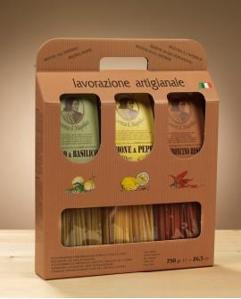 Valigetta Tris (linguine Pep.-aglio, Bas.-lim. e peperoncino) Lorenzo il Magnifico 750 gr - Antico Pastificio Morelli
