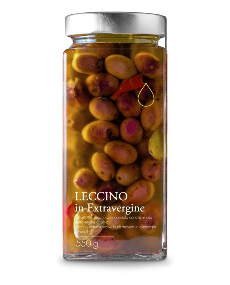 Olive nere Leccino in olio extra vergine - 550g - Olio il Bottaccio